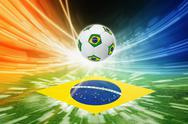 Soccer ball and flag of brazil Stock Illustration