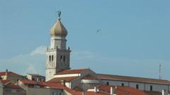 Church tower in old town Krk, Croatia Stock Footage
