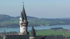 Castle tower in the German Alps - Bavaria Stock Footage