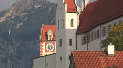 Clock tower of the High castle of Füssen Bavaria Stock Footage