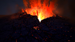 Volcano catastrophe eruption of lava rocks fire. Geology earthquake magma hell. Stock Footage