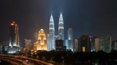 Time Lapse of Petronas Twin Tower, Kuala Lumpur at Night (1080p) Stock Footage