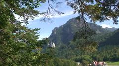 Neuschwanstein castle in the Bavarian Alps Stock Footage