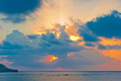 scenic dawn sky over the sea in good weather - stock photo
