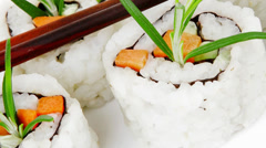 Maki Sushi - California Roll with Cucumber Stock Footage