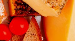 Stock Video Footage of cheeses served with olive oil