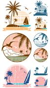 Beach Symbols - stock illustration
