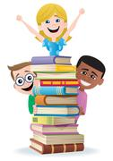Books and Kids Stock Illustration