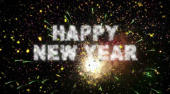 New Year Real Fireworks & Confetti Loop Stock Footage