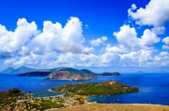 Landscape scenic view of lipari islands, sicily, italy Stock Photos