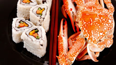 Sushi rolls with crab Stock Footage