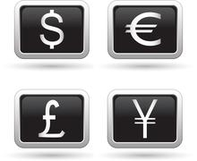 Stock Illustration of Set of currency icons black