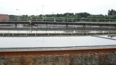 Sewage water treatment reservoir. sludge settling tank Stock Footage