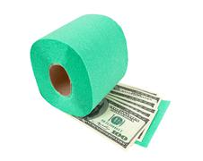 roll of toilet paper and money isolated on white background - stock photo