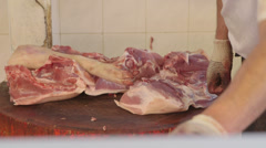 Meat at the market Stock Footage