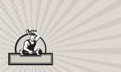 blacksmith with hammer striking barbell. - stock illustration