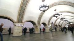 Kiev subway station and train - stock footage