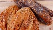 Stock Video Footage of french rye breads and baguettes