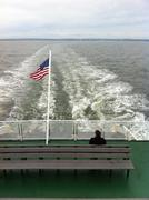 American flag on ferry deck Stock Photos