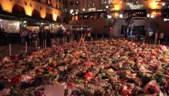 Mandela Death - Mandela Square move up to statue-11 Dec 201 Stock Footage