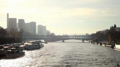 River Seine in Paris Stock Footage