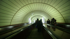 Kiev subway escalator with people 2 Stock Footage