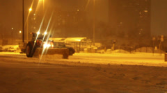 Snow removal Equipments Deployed during Snowstorm Stock Footage