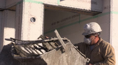 Construction , stucco cement mixer - stock footage