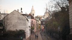Nice street in Montmartre district - Paris Stock Footage