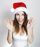 Amazed christmas girl - stock photo