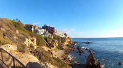 Expensive Homes On Sea Cliff Overlooking Pacific Ocean Stock Footage