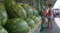 Watermelon stand at the market Stock Footage
