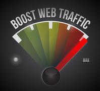 boost web traffic speedometer. illustration - stock illustration