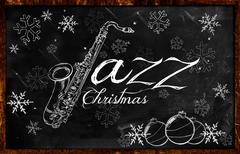 Jazz Christmas music background - stock illustration