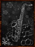 Stock Illustration of Saxophone Christmas sketch on blackboard