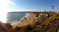 High Wide View Of Corona Del Mar Beach- Newport Beach CA Stock Footage
