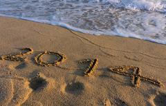 Year 2014 on the beach Stock Photos
