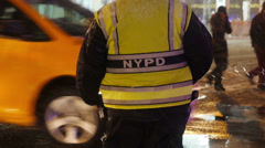 New York City Police Officer Directs Traffic 3894 Stock Footage