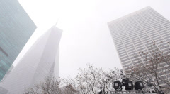 Stock Video Footage of Winter Buildings in Manhattan 3882