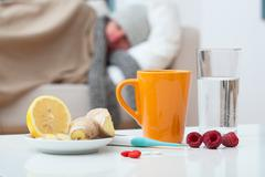 sick man and home treatment - stock photo