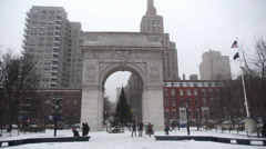 Washington Square Park Winter 3891 Stock Footage