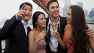 Stock Video Footage of Caucasian Asian Chinese Couples Enjoying Champagne Hong Kong