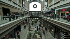 Christmas holiday shopping busy shopping mall fast timelapse HD 0234 Stock Footage