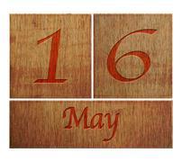 wooden calendar may 16. - stock illustration
