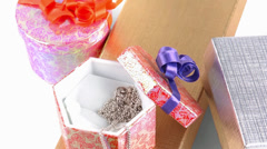 Jewelries and present boxes Stock Footage