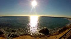 Sun Shining On Ocean- Corona Del Mar Beach- Newport Beach CA Stock Footage
