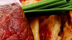 Roast meat : beef ( lamb ) steak Stock Footage