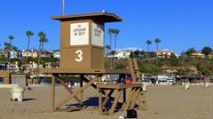 Vacant Lifeguard Stand- Corona Del Mar Beach, Newport Beach CA Stock Footage