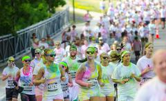 minneapolis color run with participants - stock photo