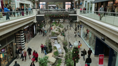 Christmas shopping indoor luxury mall HD 0243 Stock Footage